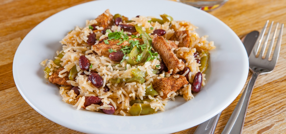 Caribbean chicken with rice and beans