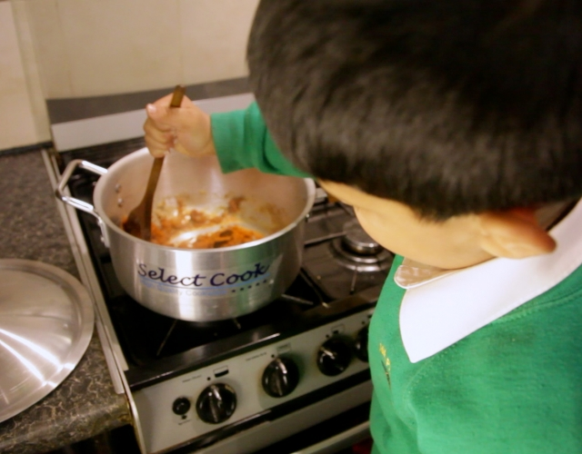 Boy cooking